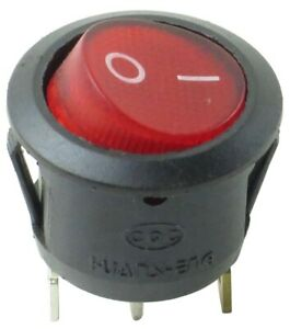 Red Illuminated Round Rocker Switch 125 250v On off Single Pole Double Throw