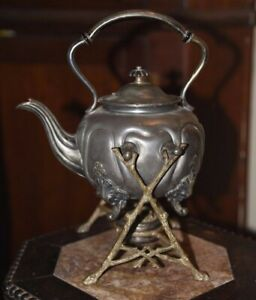 Antique 1800 S Silver Plated Brass Teapot W Brass Stand Original Burner 11 5 H