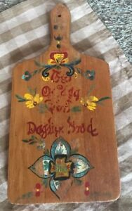 Vtg Wooden Bread Cutting Board Wall Hanging Painted Motif Scandinavian Folk Art