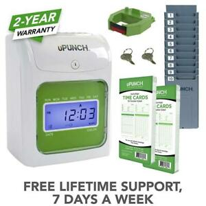 Upunch Starter Time Clock Bundle With 100 cards 1 Cards Rack 1 Ribbon