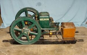 Small Gilson Hit Miss Gas Engine With Stove Leg Base Embossed Hopper