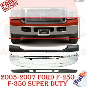 Front Bumper Chrome Upper Lower For 2005 2007 Ford Super Duty F 250 F 350