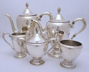 Frank Whiting Sterling Silver Tea Coffee Set Colonial Style 5 Pc