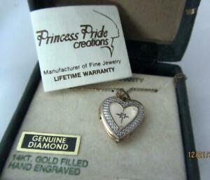 Vintage Gold Filled Heart Locket With Tiny Diamond In Original Box