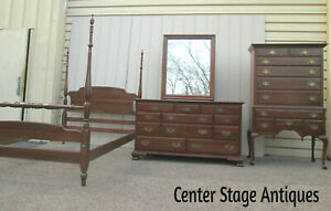 58512 Ethan Allen Bedroom Full Size Poster Bed High Boy And Dresser W Mirror