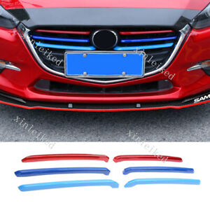 3 Colors Front Grille Grill Cover Strips Clip Trim For Mazda 3 Axela 2017 2019