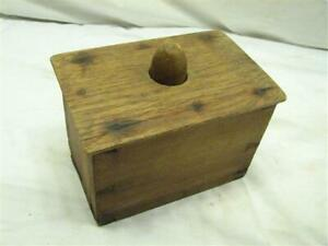 Early Primitive Square Butter Pat Mold Dove Tailed Wood Box Wooden Stamp