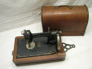 Rare Antique Lead Hand Crank Sewing Machine Victorian W Wooden Case Japan