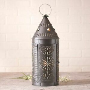 Colonial New Large Smokey Black Punch Tin Revere Lantern Light