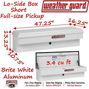 184 3 01 Weather Guard White Aluminum Lo side Mount Box 47 Truck Toolbox