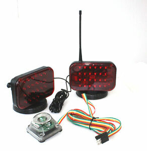 Lot Two 48 Led Wireless Tow Light Kit Magnetic Cordless Truck Boat Haul Towing