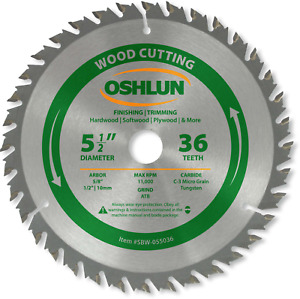 Oshlun Sbw 055036 Circular Saw Blades 5 1 2 inch Tooth Atb Finishing And Saw And