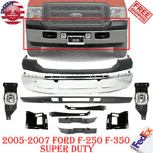 Front Bumper Chrome Up low Cover Bracket Light For 2005 2007 Ford F 250 F 350