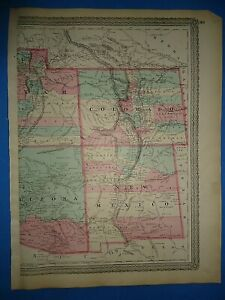 Vintage 1873 Colorado New Mexico Territory Map Old Antique Original Atlas Map