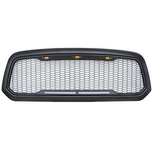 Grille For 2013 2017 Dodge Ram 1500 Raptor Style Matte Black shell amberled Us