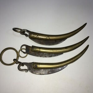 Three Antique Chinese Solid Copper Handle Fish Shape Knives