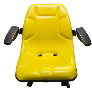 Ultra High Yellow Back Steel Pan Seat W Arm Rests For Skid Steers Backhoes