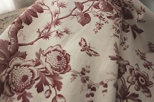 Antique Fabric French Toile Insect Floral C1850 Timeworn Cotton Red White