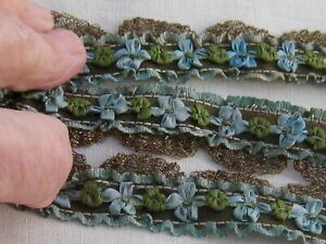 Superb Early Gold Metal Swag French Silk Rococo Silk Ribbon Hndmd Trim 27 X7 8
