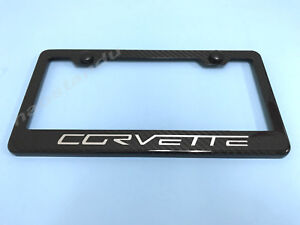 1x Corvette Real 3k Twill Weave 100 Carbon Fiber License Plate Frame Holder