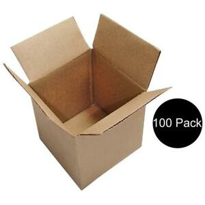 100 Corrugated 4x4x4 Cardboard Boxes For Packing Mailing Moving Shipping Box