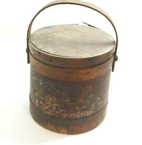 Antique Original Heinz Advertising Wooden Firkin Bucket With Lid And Bail Handle