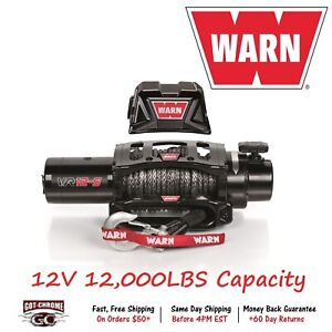 97035 Warn Vr12 Vehicle Mounted Recovery Winch 12v 12000lb Pull 90 Synthetic