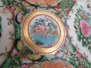 Antique Chinese Hand Painted Rose Medallion Plate Export 8 5in Enamel