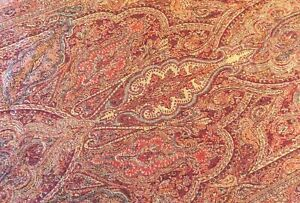 Antique Paisley Piano Shawl Hand Woven Loomed Selvedge Victorian Runner 21x38