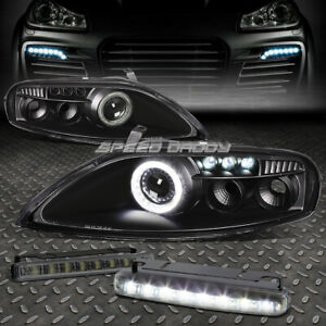 Black Halo Projector Headlamps 8 Led Grill Drl Lamps For 92 00 Z30 Sc300 sc400