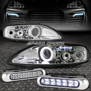 Chrome Halo Projector Headlight 12 Led Grill Drl Lamp For 92 00 Z30 Sc300 sc400