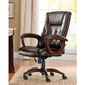 Office Rolling Computer Chair High Back Executive Desk Bonded Leather Brown