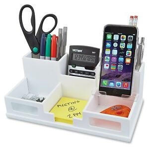Victor Pure White Collection Wood Desk Organizer With Smart Phone Holder White