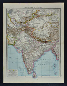 1881 Andrees Map India Nepal Tibet Afghanistan Bhutan Burma China Mt Everest