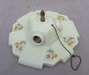 Antique Porcelier 3 Bulb Porcelain Ceiling Light Fixture New Wiring Guaranteed