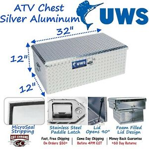 Atv Uws Single Lid Silver Aluminum Atv Tool Box Chest With Handles