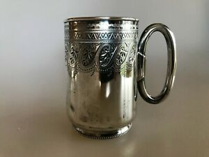 Antique 1883 Edward Hutton Sterling Silver Aesthetic Movement Victorian Mug Cup