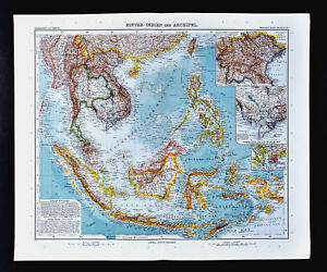 1911 Stieler Map Asia East Indies Philippines Singapore Hong Kong Vietnam Siam