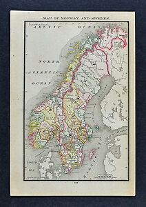 1885 Mcnally Map Norway Sweden Stockholm Christiania Christiansand Europe