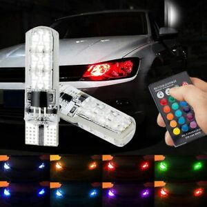 2pc T10 5050smd 6led Rgb Auto Car Wedge Side Light Lamp W Remote Controller 12v