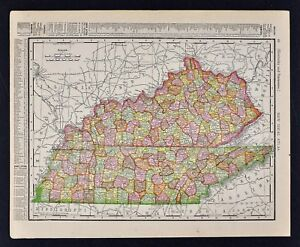 1911 Mcnally Index Map Kentucky Tennessee Louisville Nashville Lexington Ky Tn