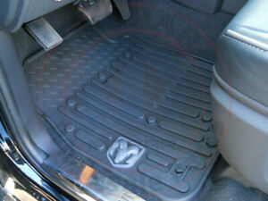 Dodge Ram 2500 3500 Mega Cab Front Rear Rubber Black Slush Mats New Oem Mopar