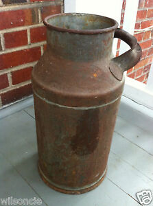 Vintage Antique Primitive Rustic Rusty Milk Can Bottle From Canada