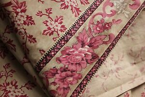 Chintz Fabric Antique Printed Cotton C1830 Pink Floral Rare W Border 3 Yards