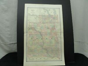 Vintage 1885 Dakota Territory Map Old Antique Original Atlas Map