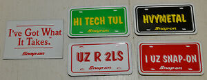 Snap On Tools Vintage Magnetic Tool Box Signs License Plates Set Of 5 Nos 1994