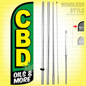 Cbd Oils More Windless Swooper Flag Kit 15 Feather Banner Sign Gq h