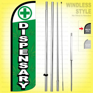 Dispensary Windless Swooper Flag Kit 15 Feather Banner Sign Gqd99 h