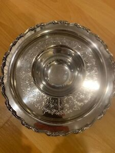 Wma Rogers Covered Silverplate Serving Plate With Small Bowl Attached