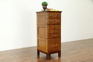 Oak Antique Stacking 8 Drawer Card Letter Office Library File Cabinet 30878